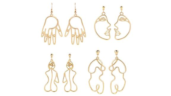 Mookoo Gold Face Earrings Abstract Designs