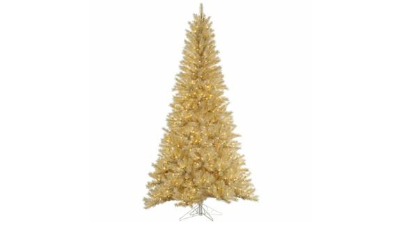 The Holiday Aisle White/Gold Tinsel 7.5-Ft Artificial Christmas Tree
