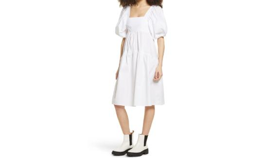 Topshop Tiered Puff-Sleeve Cotton Dress