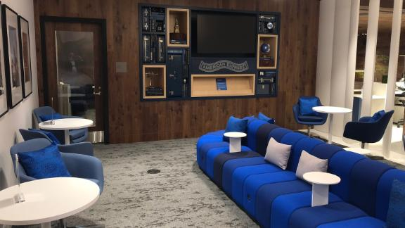 Immediately to your right after entering the lounge, you'll find the first of several comfortable seating areas.